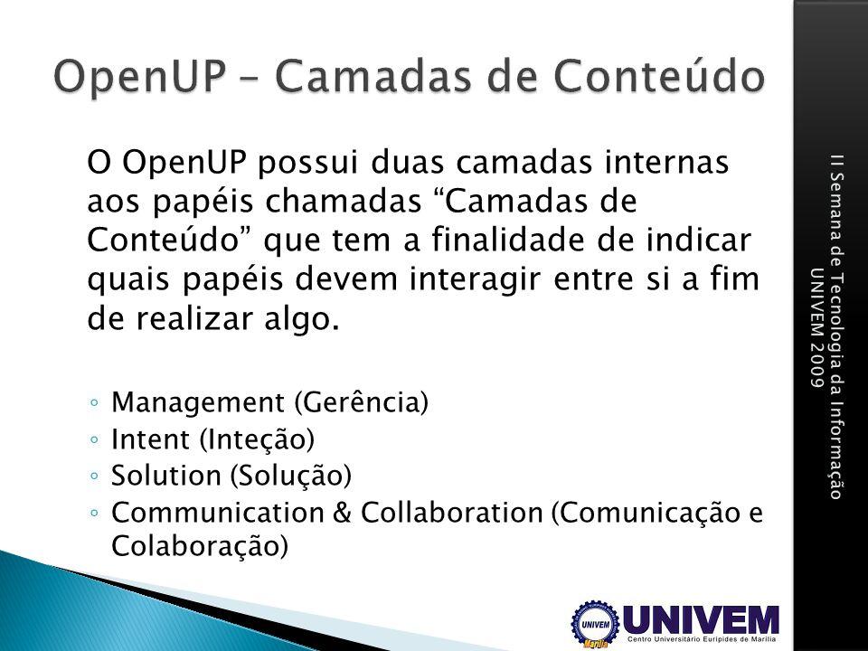 OpenUP – Camadas de Conteúdo