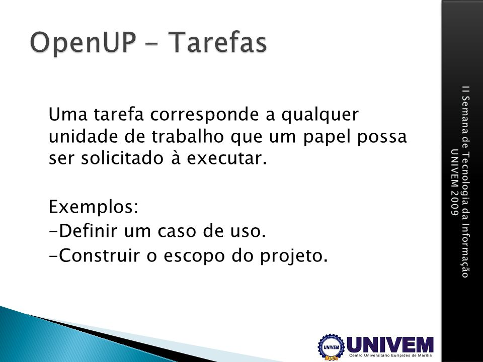 OpenUP - Tarefas
