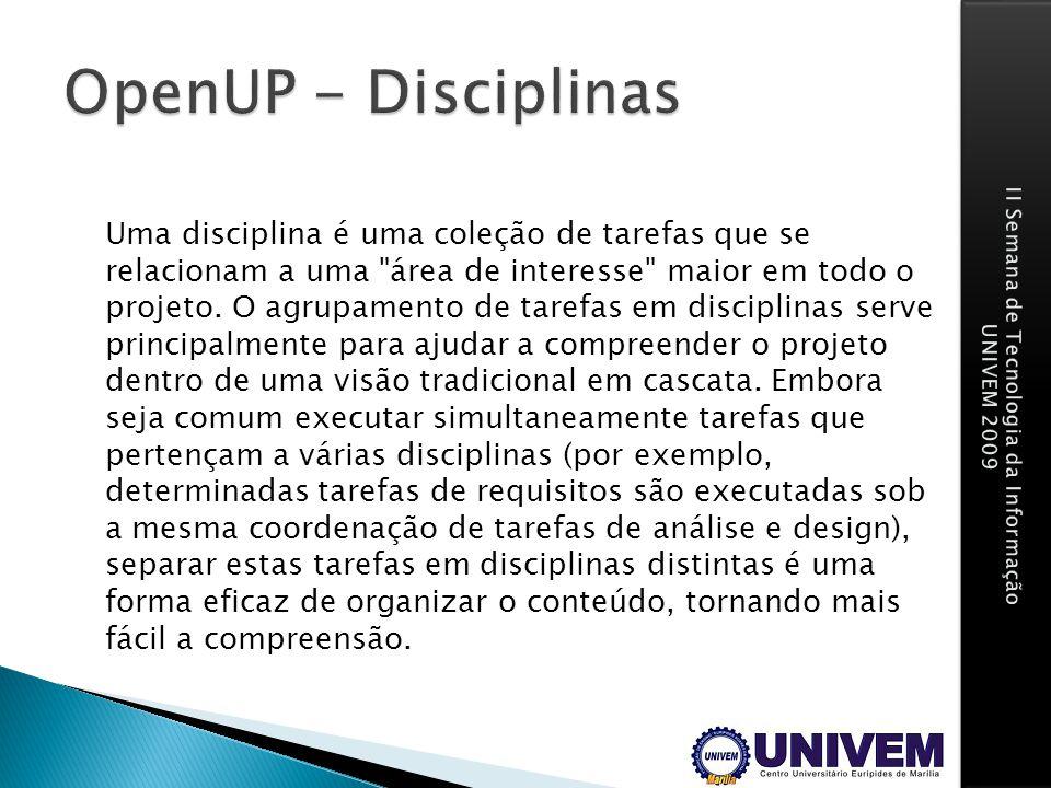 OpenUP - Disciplinas