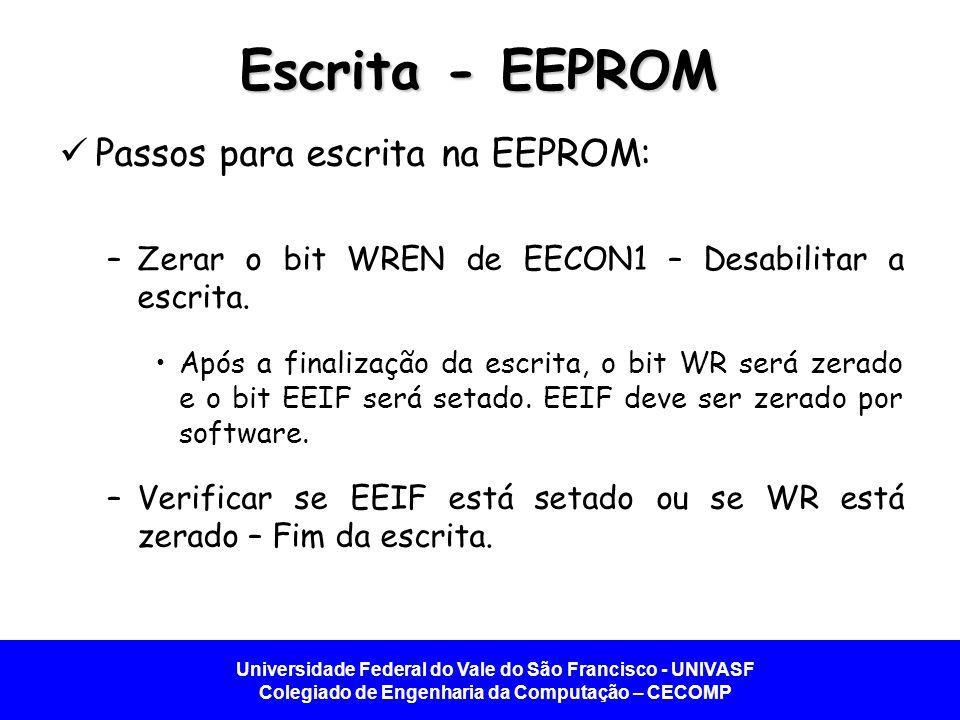 Escrita - EEPROM Passos para escrita na EEPROM: