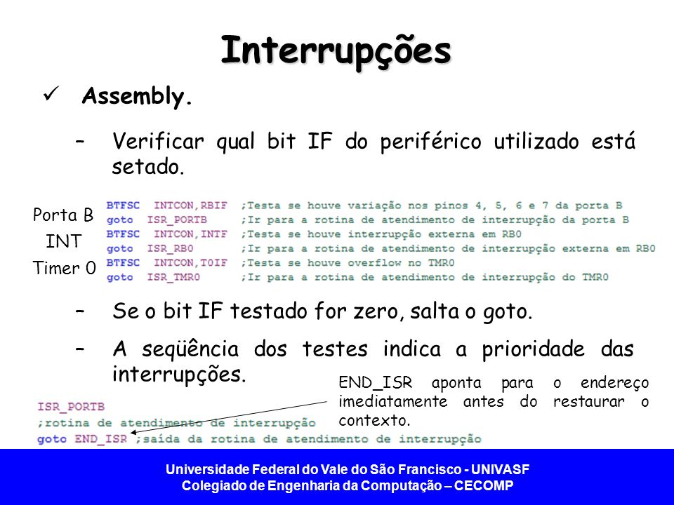 Interrupções Assembly.