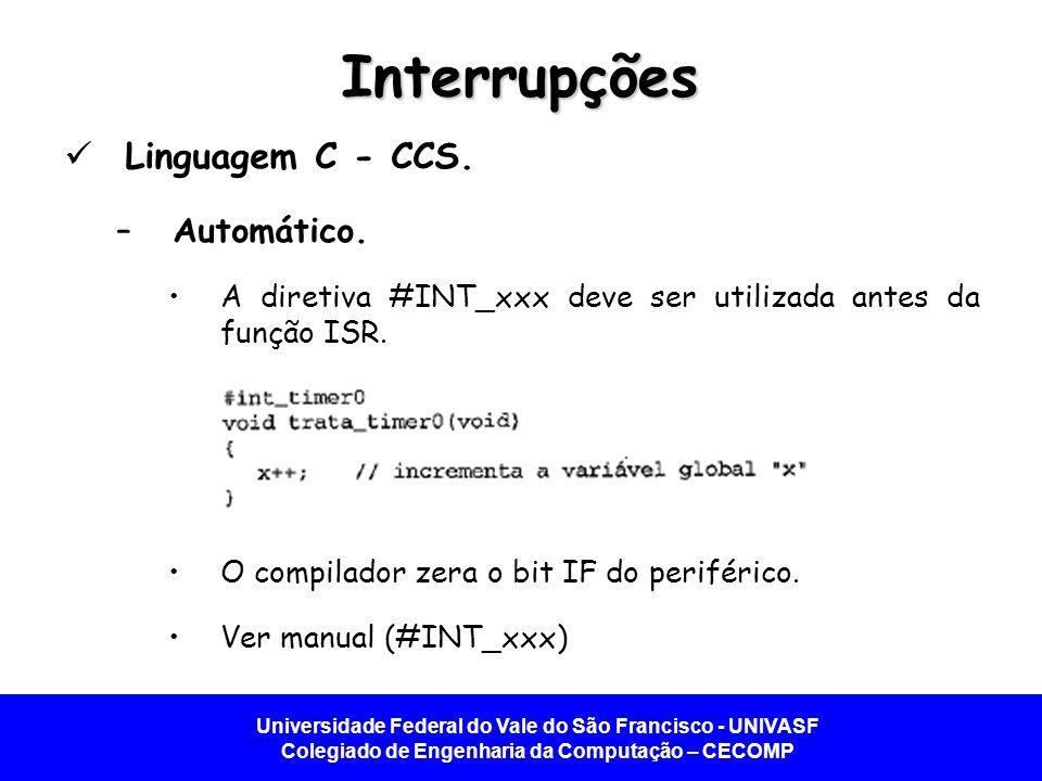 Interrupções Linguagem C - CCS. Automático.