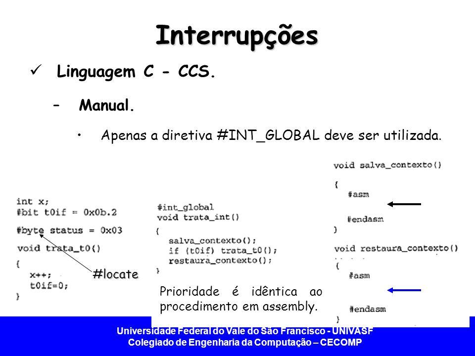 Interrupções Linguagem C - CCS. Manual.