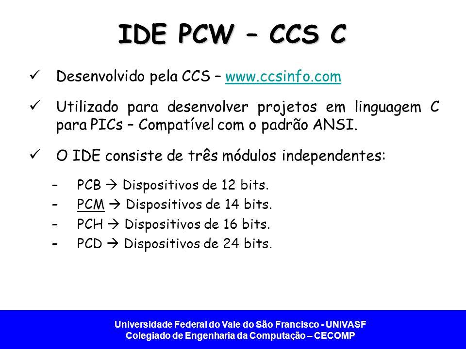 IDE PCW – CCS C Desenvolvido pela CCS – www.ccsinfo.com
