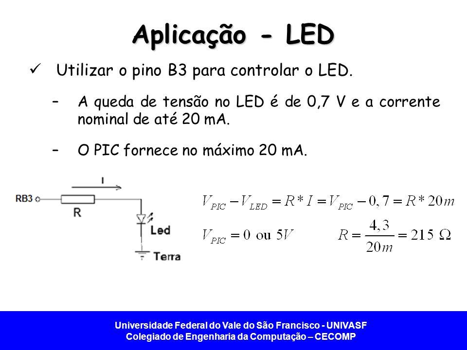 Aplicação - LED Utilizar o pino B3 para controlar o LED.