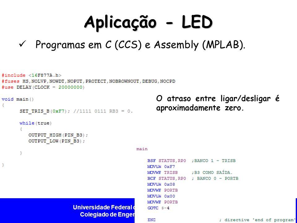 Aplicação - LED Programas em C (CCS) e Assembly (MPLAB).