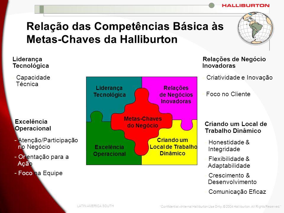 Relação das Competências Básica às Metas-Chaves da Halliburton