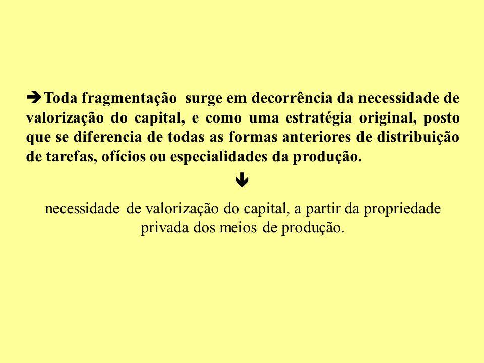 Toda fragmentação surge em decorrência da necessidade de valorização do capital, e como uma estratégia original, posto que se diferencia de todas as formas anteriores de distribuição de tarefas, ofícios ou especialidades da produção.