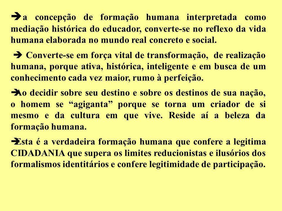 a concepção de formação humana interpretada como mediação histórica do educador, converte-se no reflexo da vida humana elaborada no mundo real concreto e social.