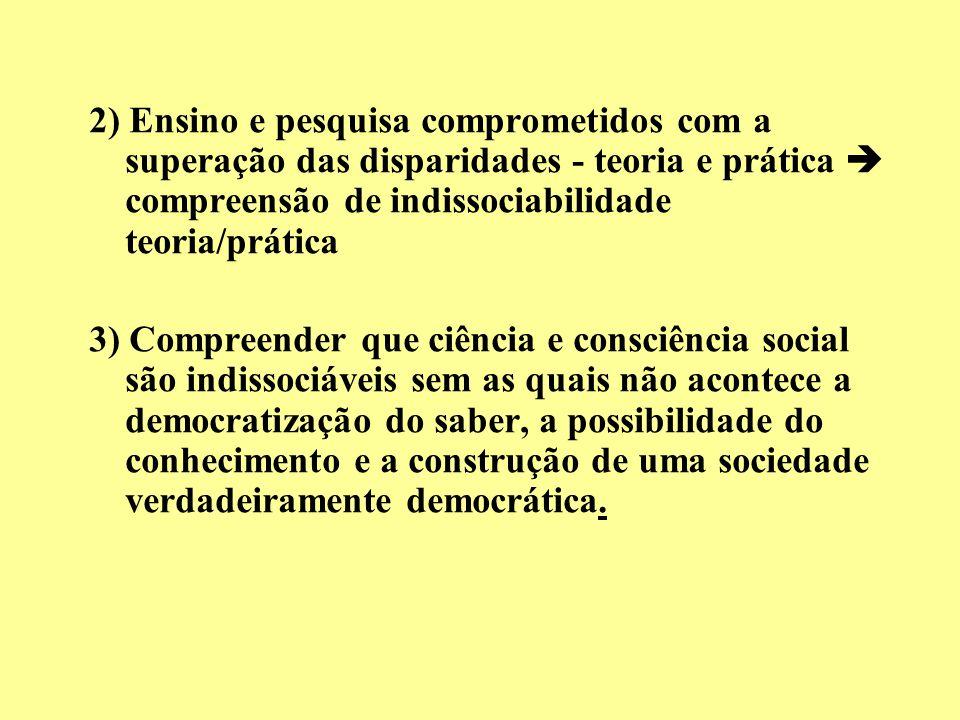2) Ensino e pesquisa comprometidos com a superação das disparidades - teoria e prática  compreensão de indissociabilidade teoria/prática