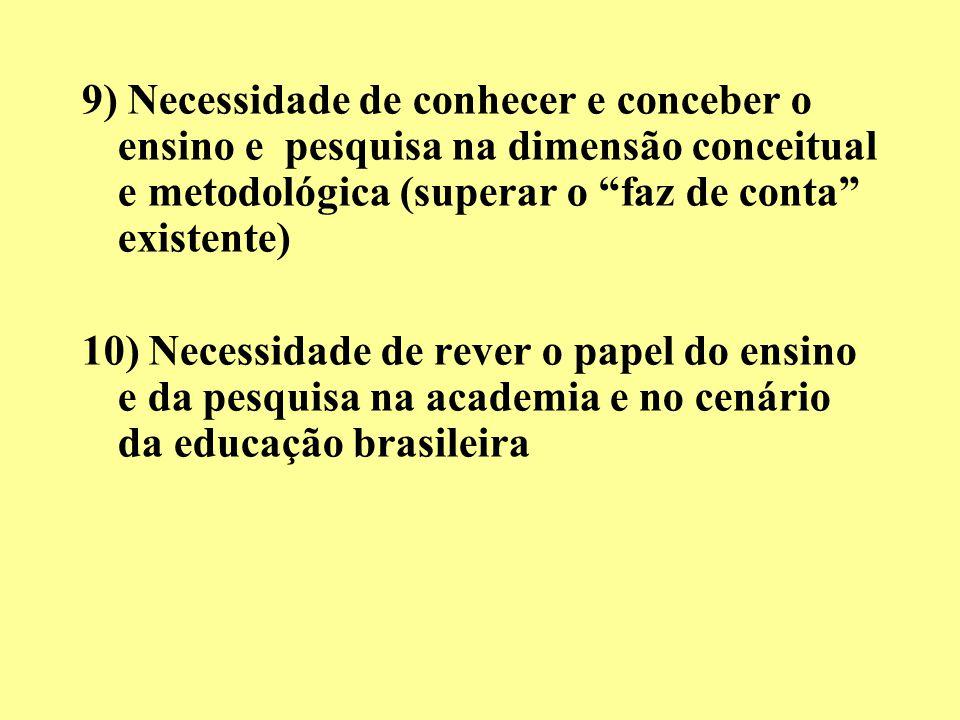 9) Necessidade de conhecer e conceber o ensino e pesquisa na dimensão conceitual e metodológica (superar o faz de conta existente)