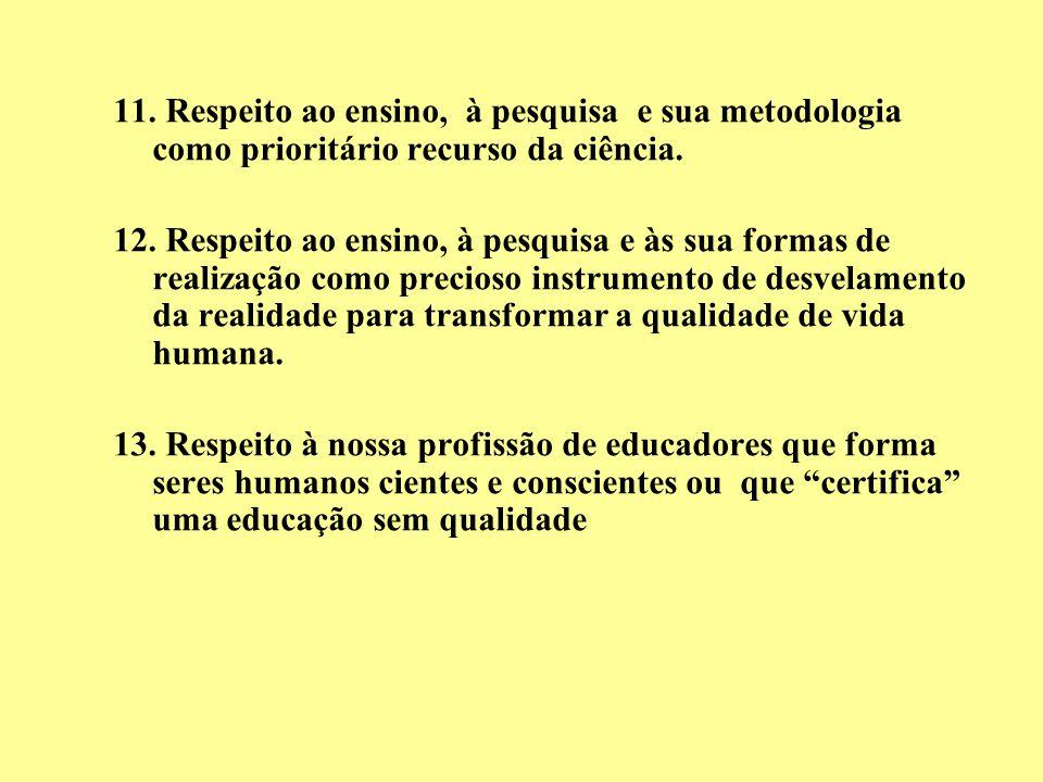 11. Respeito ao ensino, à pesquisa e sua metodologia como prioritário recurso da ciência.