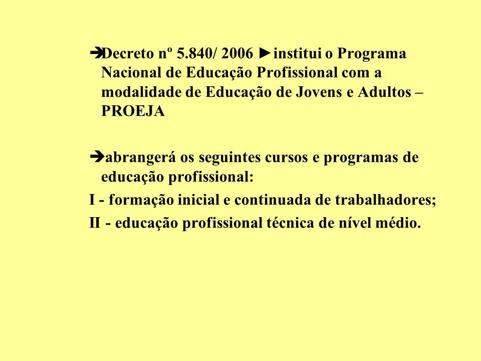 Decreto nº 5.840/ 2006 ►institui o Programa Nacional de Educação Profissional com a modalidade de Educação de Jovens e Adultos – PROEJA
