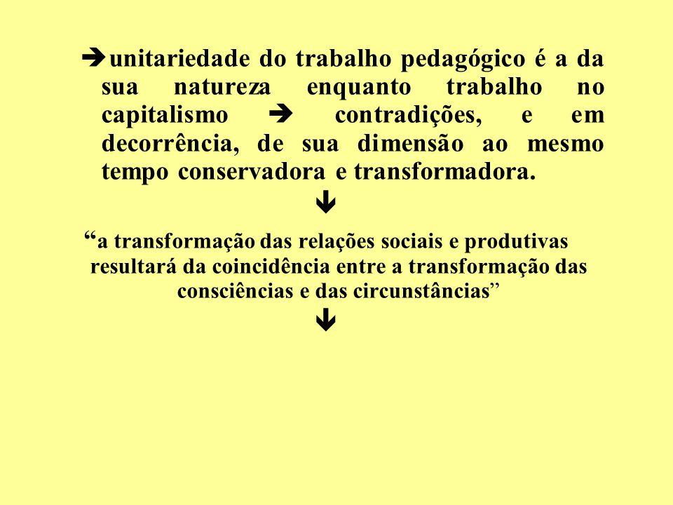 unitariedade do trabalho pedagógico é a da sua natureza enquanto trabalho no capitalismo  contradições, e em decorrência, de sua dimensão ao mesmo tempo conservadora e transformadora.