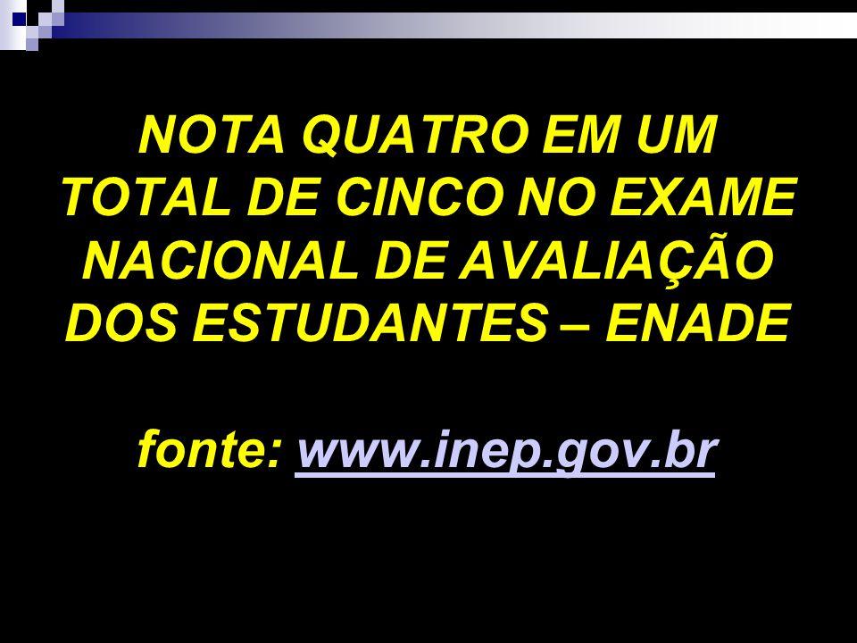 NOTA QUATRO EM UM TOTAL DE CINCO NO EXAME NACIONAL DE AVALIAÇÃO DOS ESTUDANTES – ENADE fonte: www.inep.gov.br