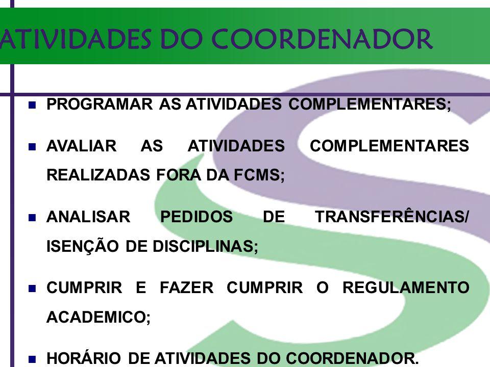 ATIVIDADES DO COORDENADOR