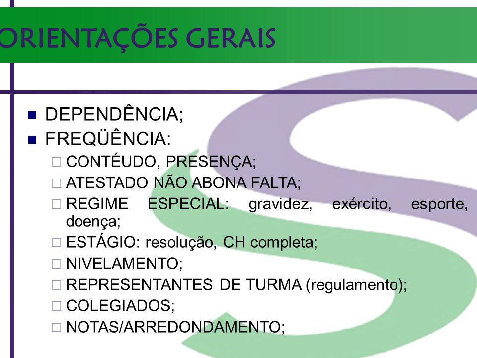 ORIENTAÇÕES GERAIS DEPENDÊNCIA; FREQÜÊNCIA: CONTÉUDO, PRESENÇA;