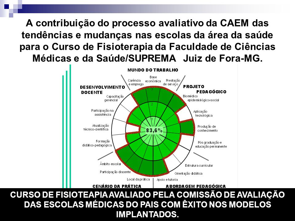 A contribuição do processo avaliativo da CAEM das tendências e mudanças nas escolas da área da saúde para o Curso de Fisioterapia da Faculdade de Ciências Médicas e da Saúde/SUPREMA Juiz de Fora-MG.