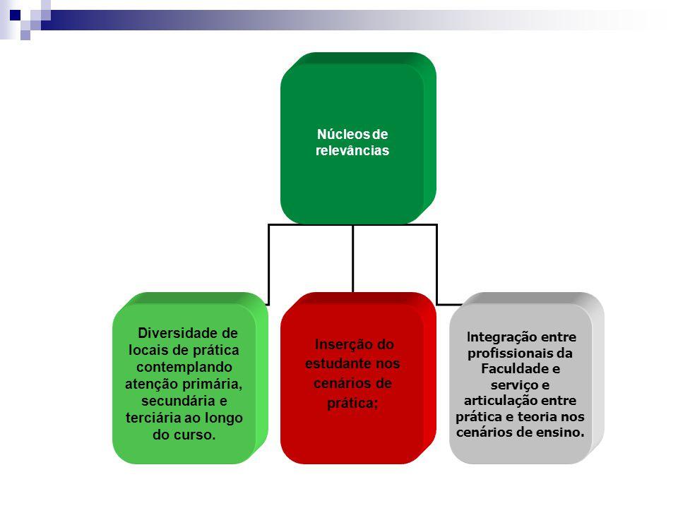 Núcleos de relevâncias Inserção do estudante nos cenários de prática;