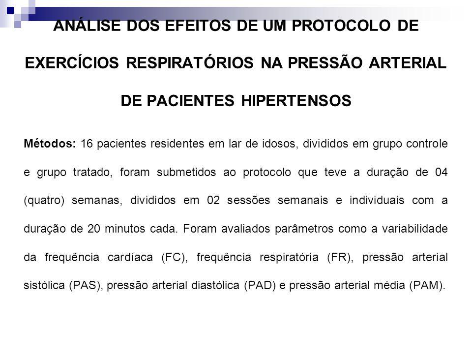 ANÁLISE DOS EFEITOS DE UM PROTOCOLO DE EXERCÍCIOS RESPIRATÓRIOS NA PRESSÃO ARTERIAL DE PACIENTES HIPERTENSOS