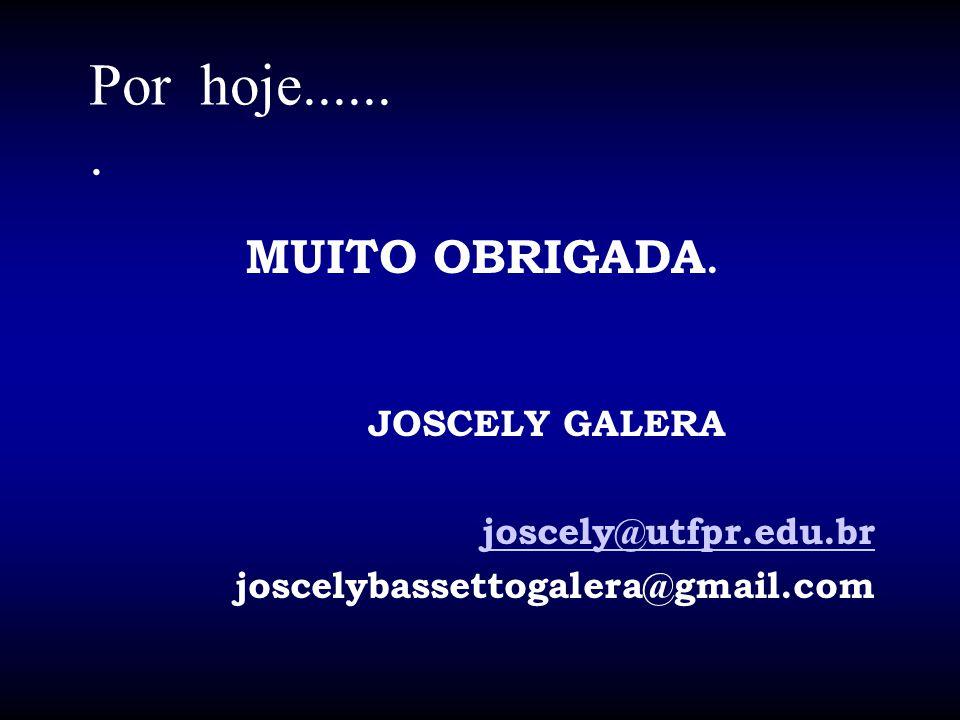 Por hoje...... . MUITO OBRIGADA. JOSCELY GALERA joscely@utfpr.edu.br