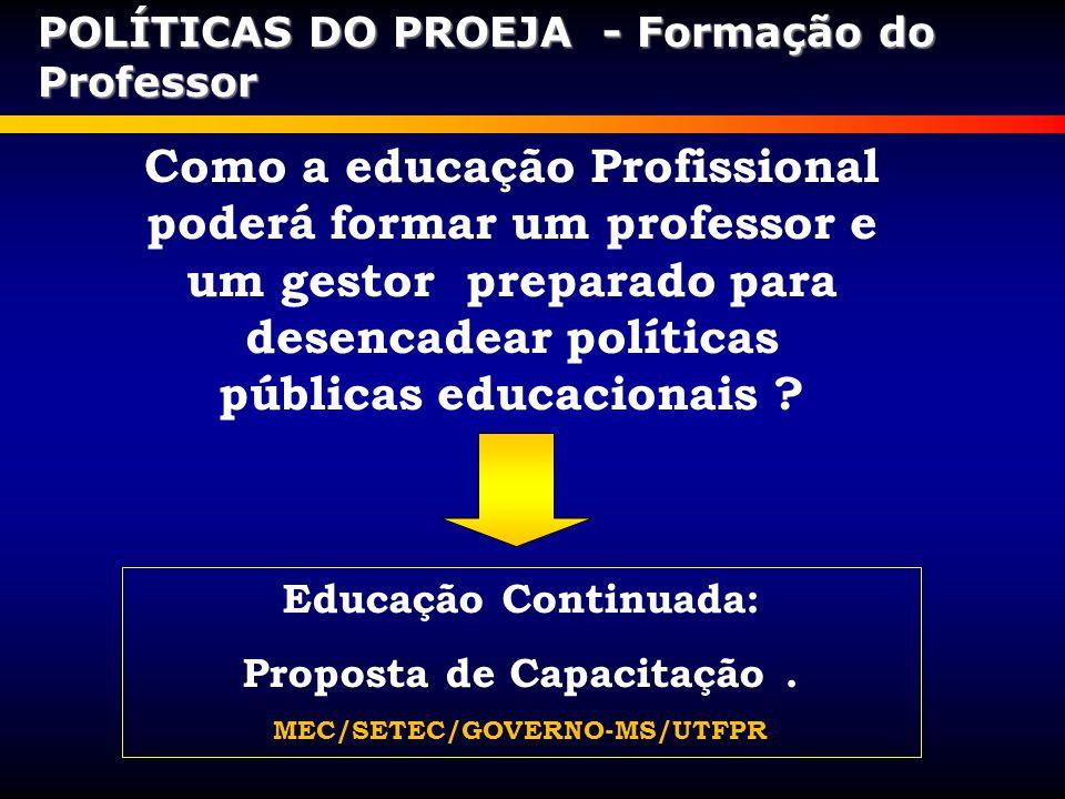 Proposta de Capacitação . MEC/SETEC/GOVERNO-MS/UTFPR