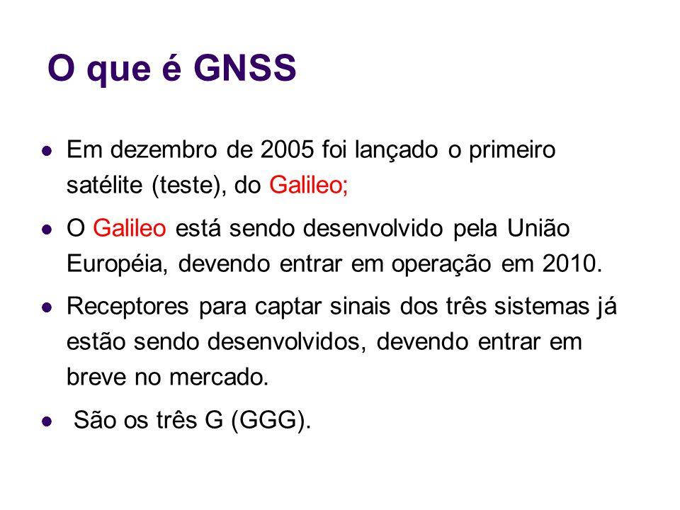 O que é GNSS Em dezembro de 2005 foi lançado o primeiro satélite (teste), do Galileo;