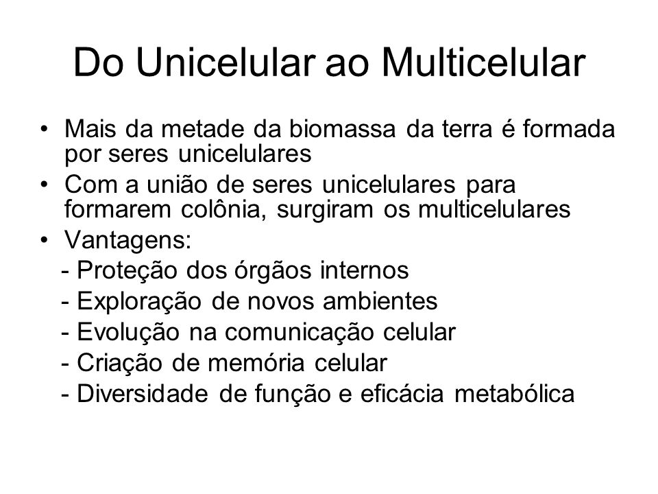 Do Unicelular ao Multicelular