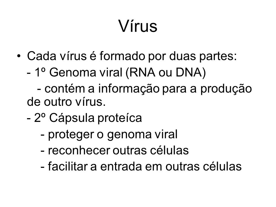 Vírus Cada vírus é formado por duas partes: