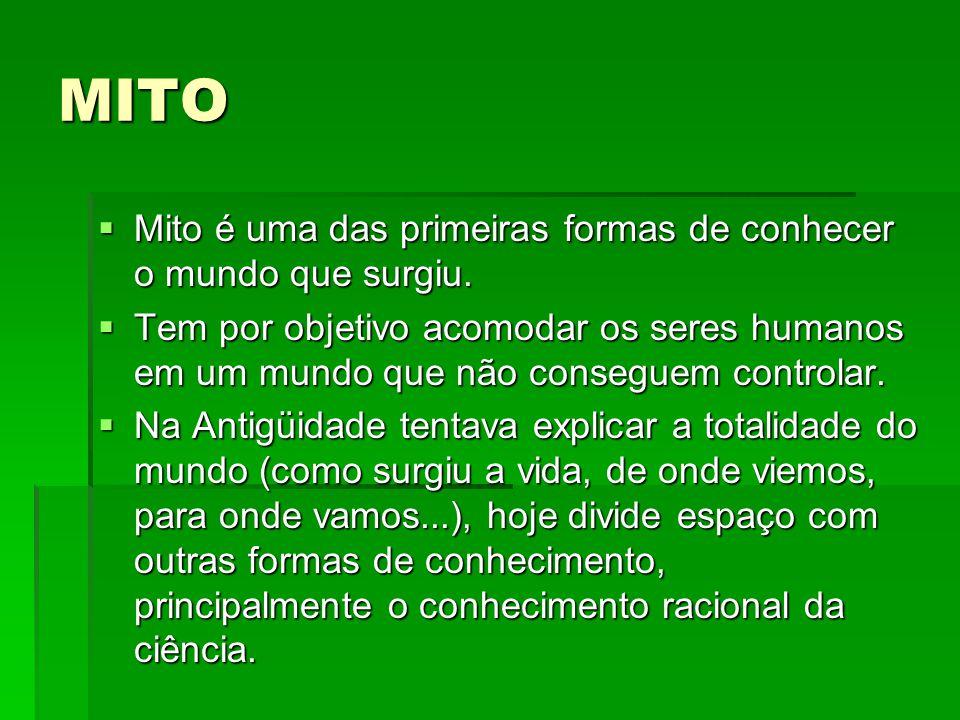 MITO Mito é uma das primeiras formas de conhecer o mundo que surgiu.