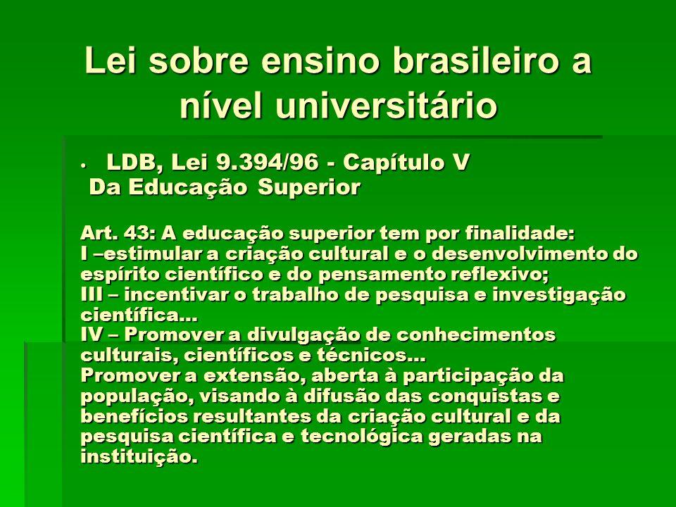 Lei sobre ensino brasileiro a nível universitário