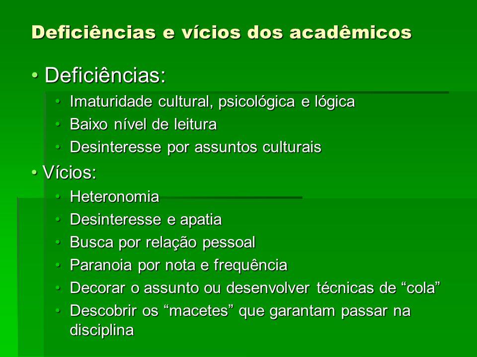Deficiências e vícios dos acadêmicos