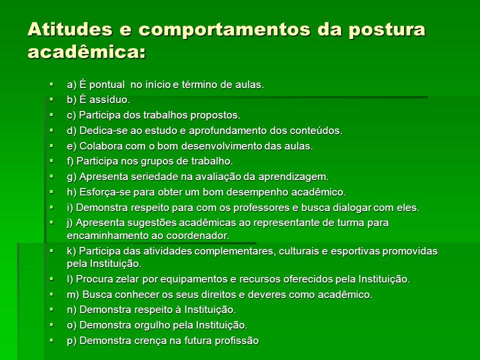 Atitudes e comportamentos da postura acadêmica: