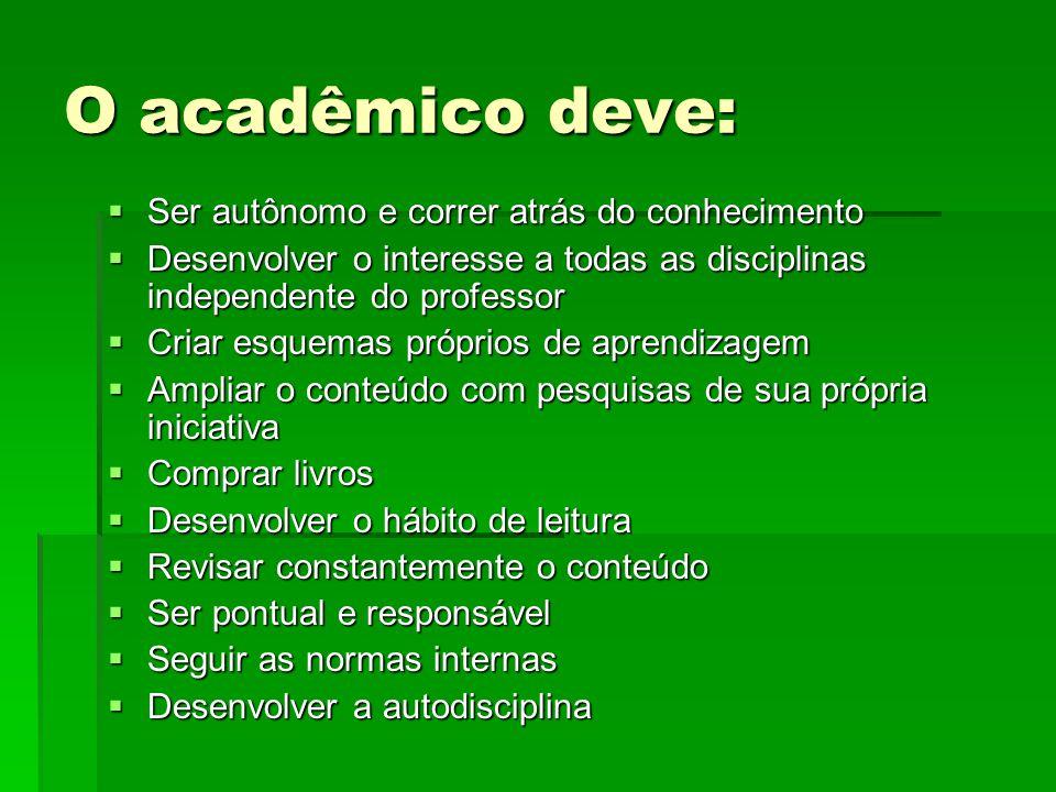 O acadêmico deve: Ser autônomo e correr atrás do conhecimento