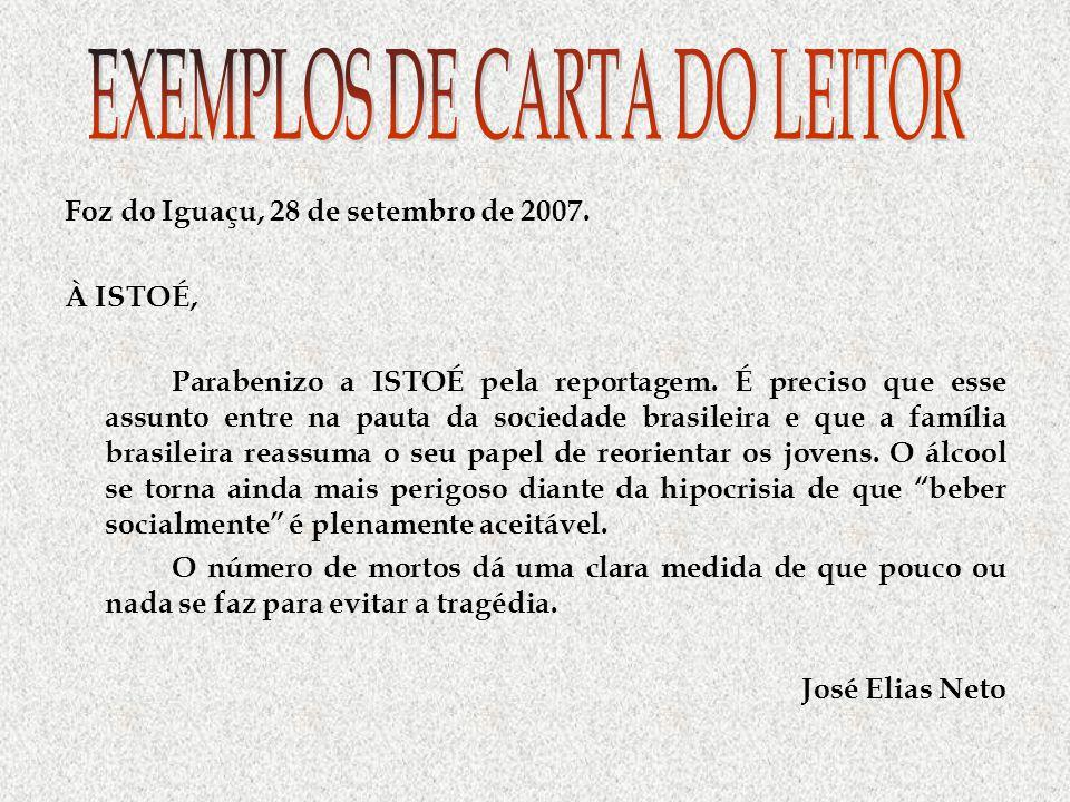 EXEMPLOS DE CARTA DO LEITOR