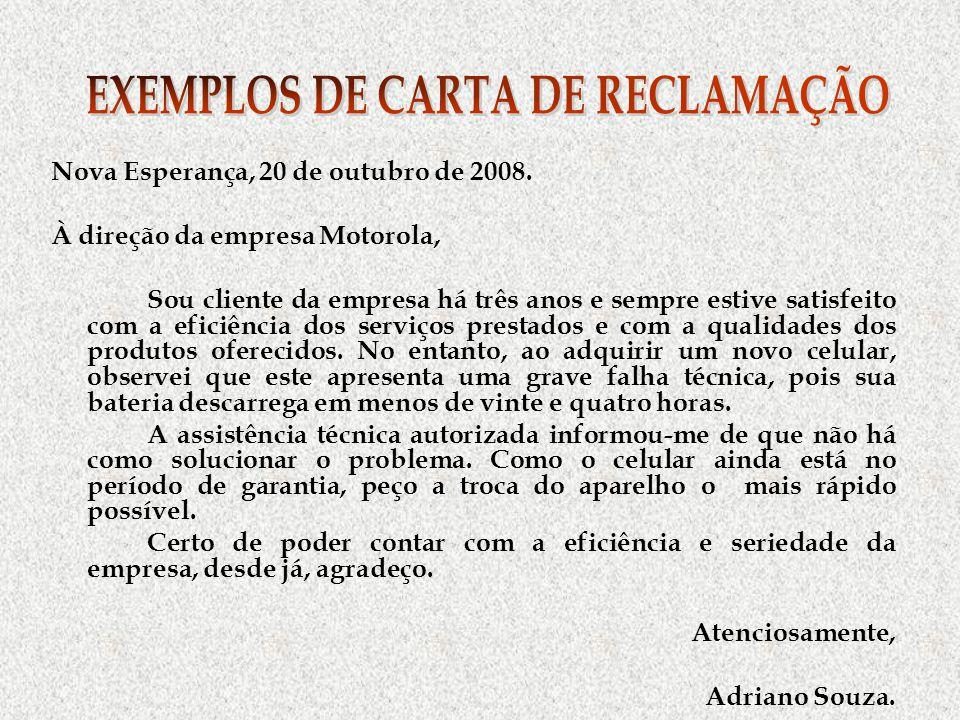 EXEMPLOS DE CARTA DE RECLAMAÇÃO