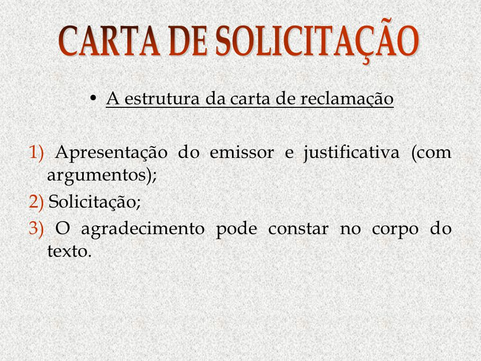 A estrutura da carta de reclamação