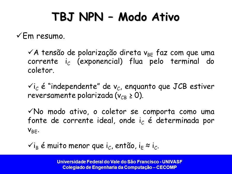 TBJ NPN – Modo Ativo Em resumo.