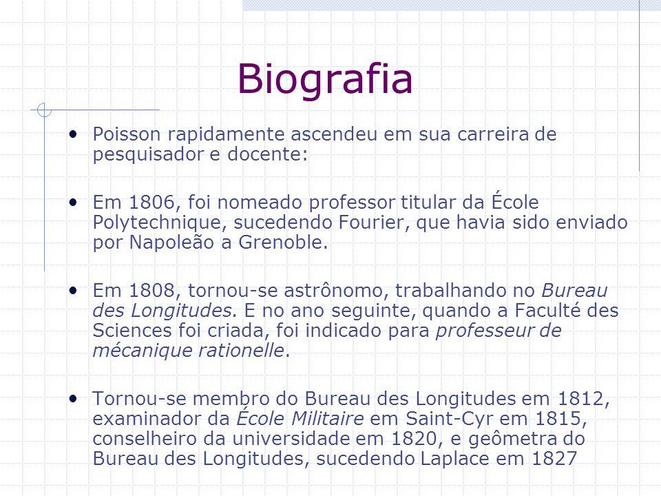 Biografia Poisson rapidamente ascendeu em sua carreira de pesquisador e docente: