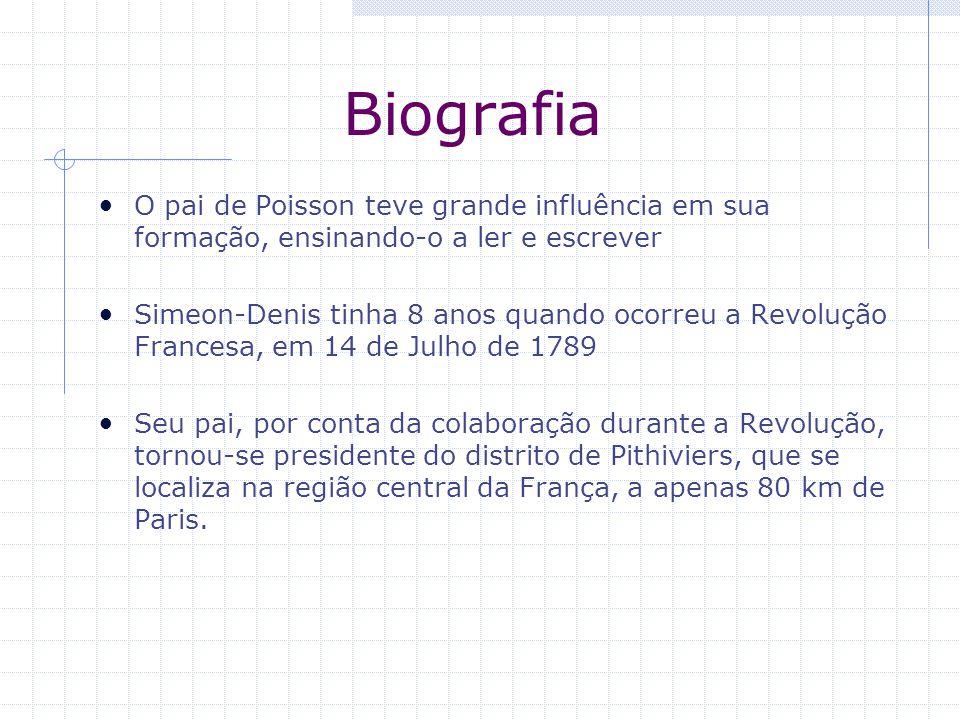 Biografia O pai de Poisson teve grande influência em sua formação, ensinando-o a ler e escrever.