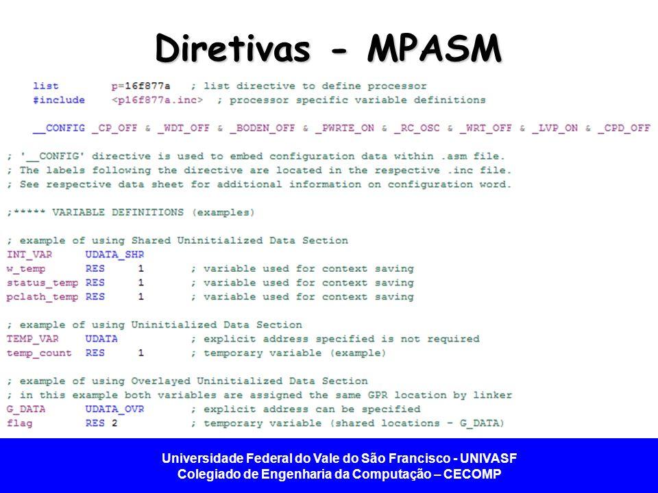 Diretivas - MPASM