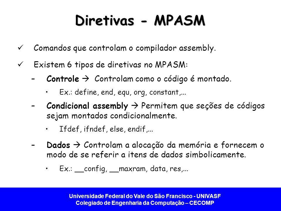 Diretivas - MPASM Comandos que controlam o compilador assembly.
