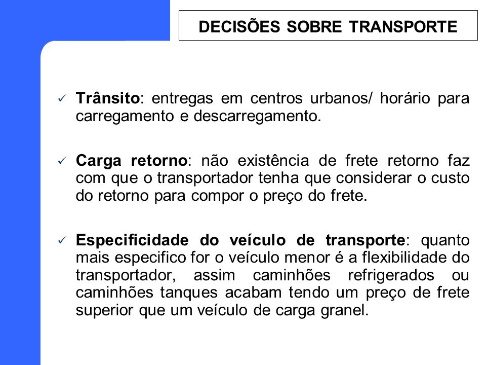 DECISÕES SOBRE TRANSPORTE