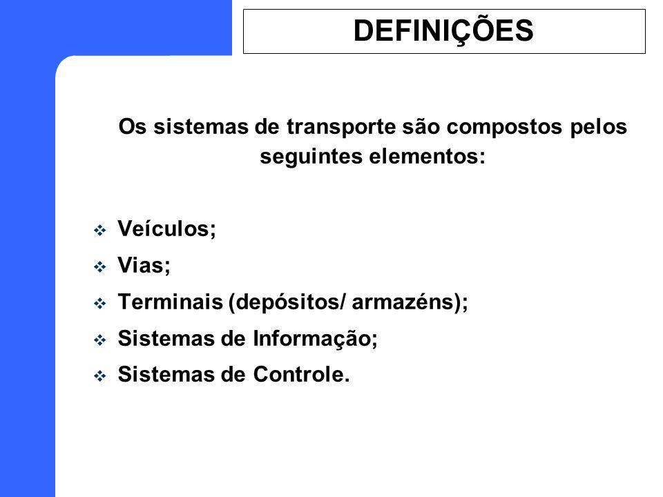 Os sistemas de transporte são compostos pelos seguintes elementos: