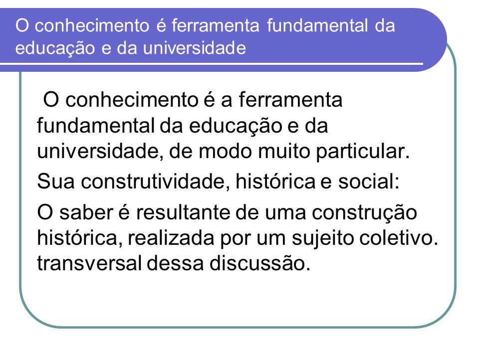 O conhecimento é ferramenta fundamental da educação e da universidade