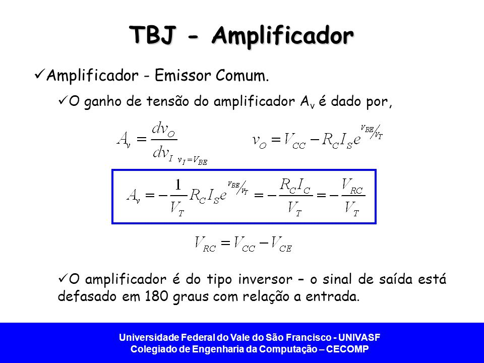 TBJ - Amplificador Amplificador - Emissor Comum.