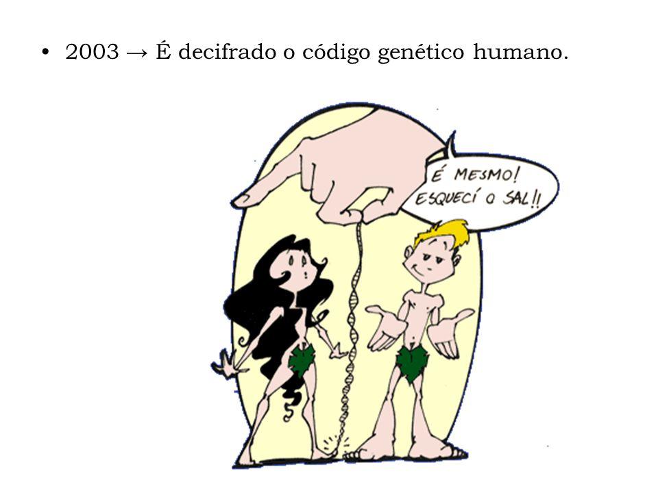 2003 → É decifrado o código genético humano.