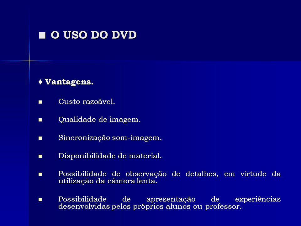 ■ O USO DO DVD ♦ Vantagens. Custo razoável. Qualidade de imagem.