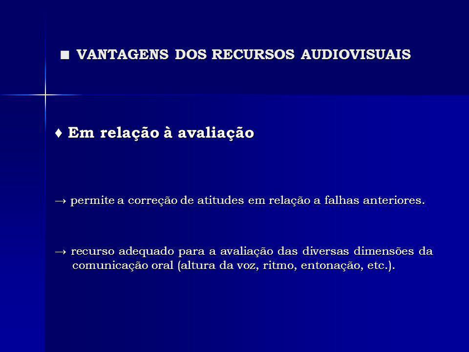 ■ VANTAGENS DOS RECURSOS AUDIOVISUAIS