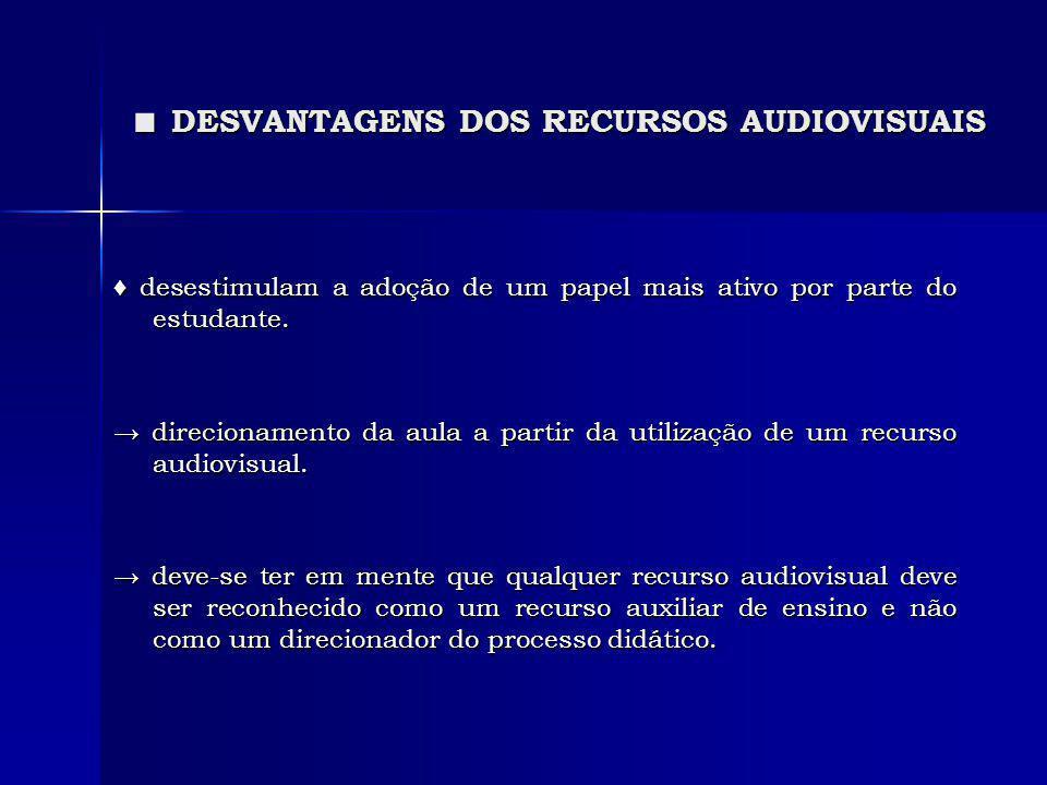 ■ DESVANTAGENS DOS RECURSOS AUDIOVISUAIS